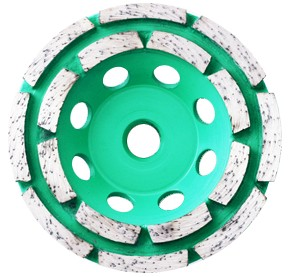 Double row diamond grinding cup wheel for stone
