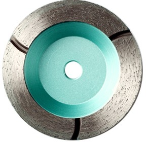 Continuous rim diamond grinding cup wheel with slot
