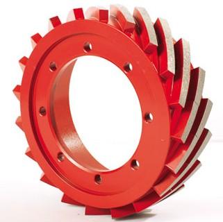 Metal bond peripheral squaring wheels